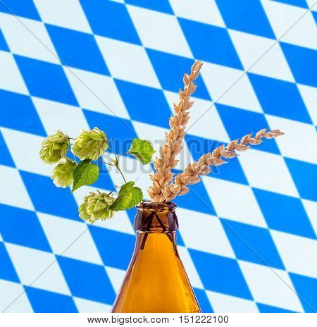 Beer bottle with hop wheat branch, on white blue Bavarian flag
