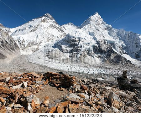Beautiful view of mount Everest Lhotse and Nuptse from Pumo Ri base camp - way to Everest base camp Khumbu valley Sagarmatha national park Nepal