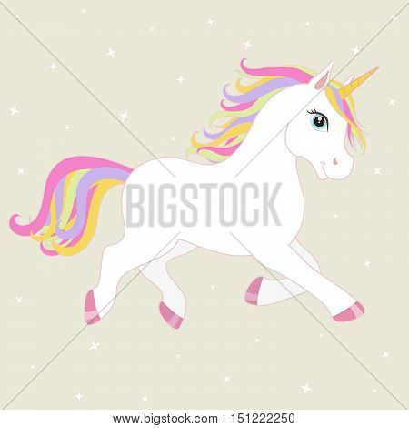 White vector unicorn with multicolored mane and horn. Unicorn on starry background.