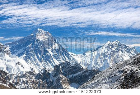 Top of Mount Everest from Gokyo valley with southern saddle Lhotse and beautiful cloud - way to Everest base camp - Nepal