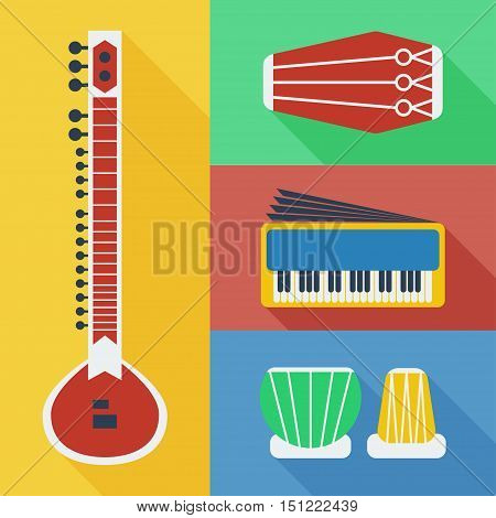 Pakistan musical instruments icons including Sitar, Dholak, Harmonium and Tabla