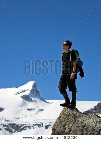 Hiker And St Nicholas Peak Banff National Park Canada