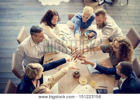 People Hand Assemble Connection Meeting Teamwork Concept