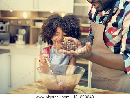 Father Daughter Cooking Baking Together Concept