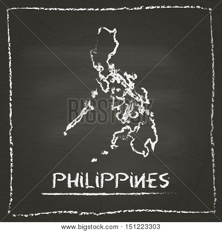 Philippines Outline Vector Map Hand Drawn With Chalk On A Blackboard. Chalkboard Scribble In Childis