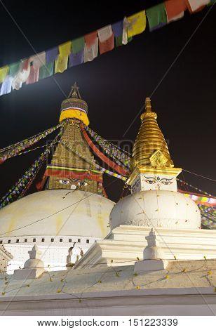 Night beautiful view of Bodhnath stupa - Kathmandu - Nepal