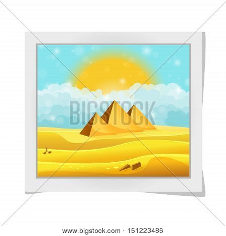 Cartoon Photo Frame With Egyptian Pyramids In The Desert With Clear Cyan Cloudy Sky. Vector Illustra