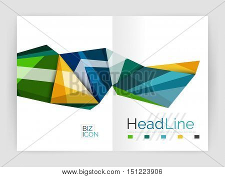 Abstract background annual report template, geometric triangle design business brochure cover