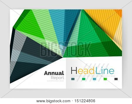 Vector annual report geometric template, 3d shapes
