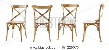 Collage of stylish chairs, isolated on white
