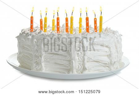 Birthday cake with candles, isolated on white