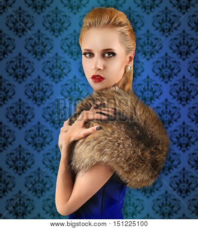 Elegant woman in fur cape on vintage pattern background. Luxury lifestyle.