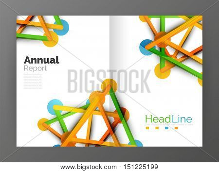Geometric molecule abstract background, vector. Vector abstract business annual report template
