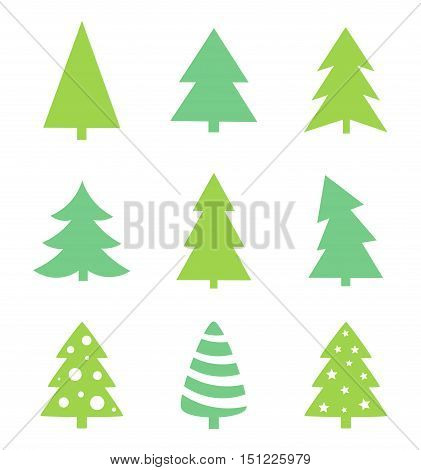 Christmas tree icons collection. Graphic flat design illustration