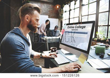 Online Collage Application Document Form Concept