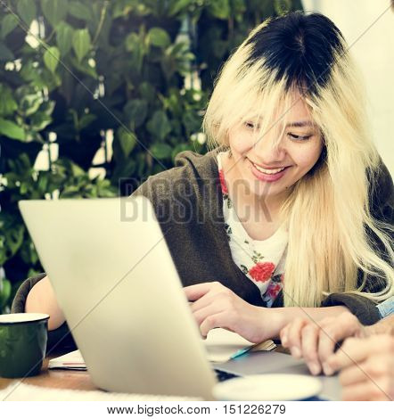 Asian Woman Laptop Social Networking Studying Learning Concept