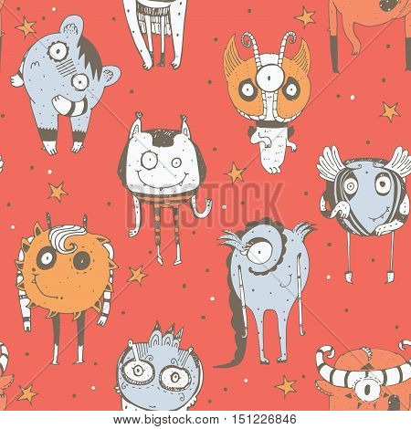 Cute seamless doodle pattern with lovely hand drawn monsters dots and stars on red background. Vector imperfect illustration with alien mascot characters. Cartoon hand drawn image in bright colors
