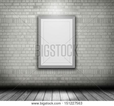 3D render of a blank picture frame on a white brick wall