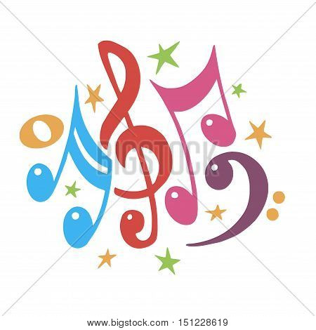 Vector Illustration of an Abstract Background with Colorful Music notes.