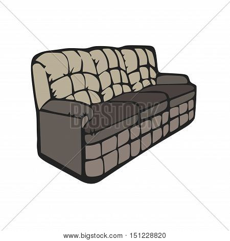 Vector sofa design isolated cartoon illustration. Double furniture with a modern style.