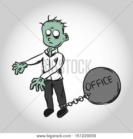 Oppressed by Office. Zombie Worker. Illustration. Isolated.
