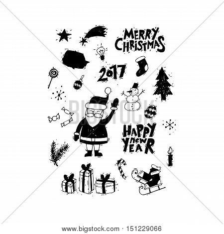 Happy New Year and Merry Christmas. Lettering, calligraphy, hand-drawn, lino-cut. Greeting card. Flat design vector illustration.