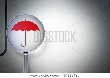 Privacy concept: magnifying optical glass with Umbrella icon on digital background, empty copyspace for card, text, advertising, 3D rendering