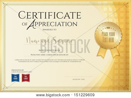 Certificate template for achievement appreciation or completion in gold theme with applied Thai art background