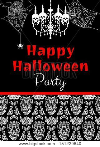 Halloween party invitation with chandelier, skull and spiderweb