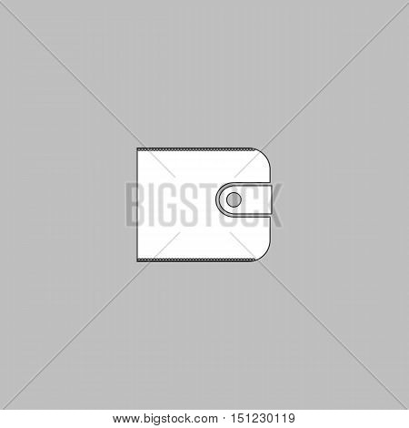 Wallet Simple line vector button. Thin line illustration icon. White outline symbol on grey background