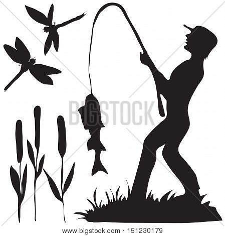 Hand drawn black and white silhouette a fisherman with a fish and dragon fly and reeds.