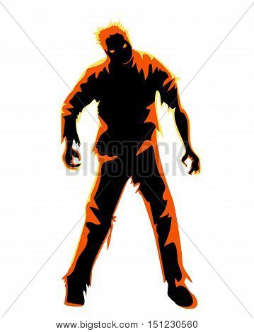 Zombie isolated on white. Character for Halloween party