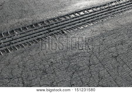 Tyre Track In The Ground