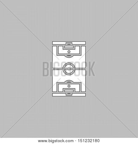 football field Simple line vector button. Thin line illustration icon. White outline symbol on grey background