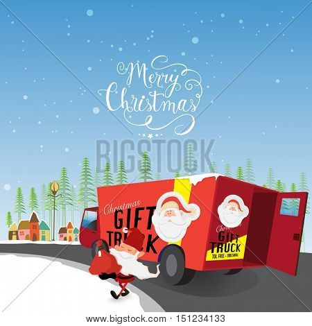 Illustration of big gift truck and Santa Claus on snowy background for Merry Christmas celebration.