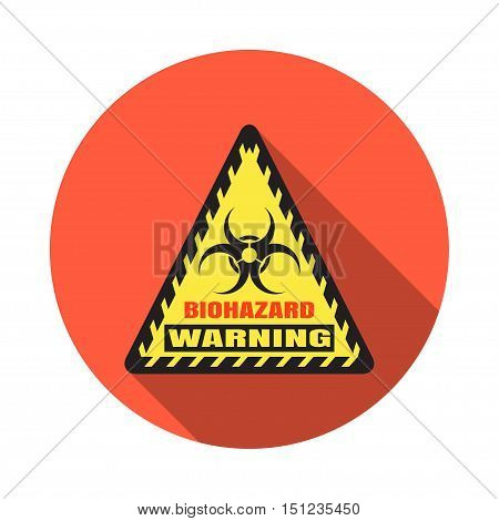 Biohazard - vector isolated triangle icon with shadow on the red background.
