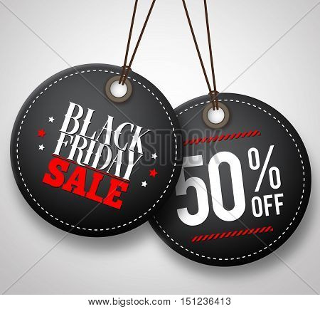 Black Friday sale vector price tags hanging in white background with half price discount. Vector illustration.