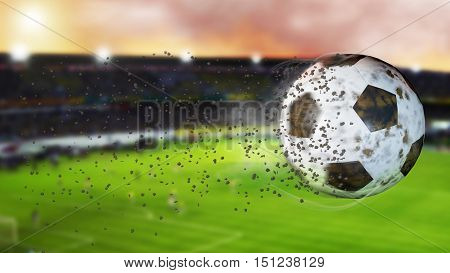Flying football leaving a trail of smoke. Spinning dirty soccer ball selerctive focus. 3D illustration