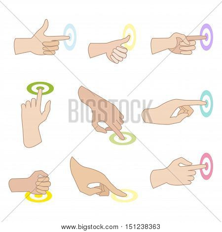 Set of hand gestures with showing direction of movement of fingers. Hand signs press, push, sliding, click, touch. Flat icons. Vector illustration isolated on white background.