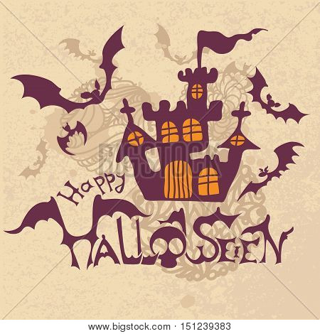 Halloween vector Illustration with haunted house spooky scary isolated on white background