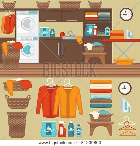 Laundry room with washer illustration. Flat vector equipment and elements basket and laundry machine, soap and detergent, clothes and iron, hanger and powder for wash.