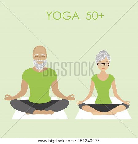 Senior Citizen Couple Relaxing in yoga pose stock vector illustration