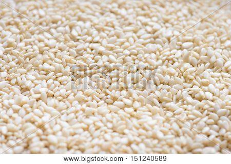 Sesame background. Organic natural sesame. Sesame heap. Sesame seed.