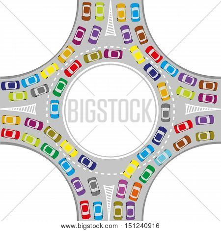 traffic jam at the roundabout color cars