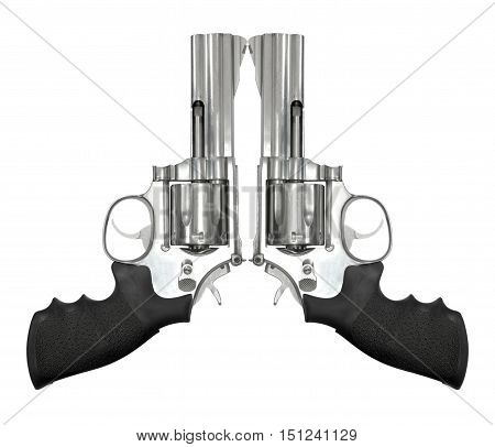 Two revolvers isolated on white background, object gun