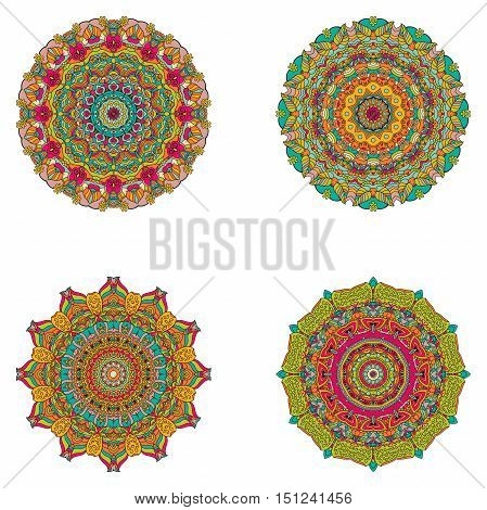 Set Of Mandalas. Vector Mandala Collection For Your Design.