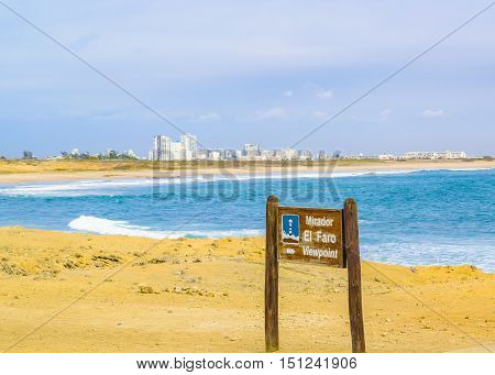 La chocolatera a famous nature viewpoint towars the pacific ocean located at rocky coast in Salinas Ecuador poster