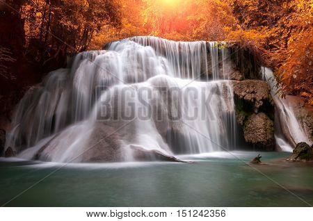 Huay Mae Khamin Waterfall beautiful waterfall in autumn forest Karnchanaburi province Thailand