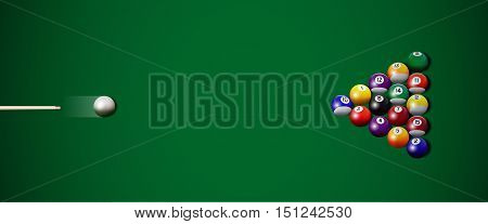 Realistic billiard strike. Vector illustranion with cue and billiard balls.