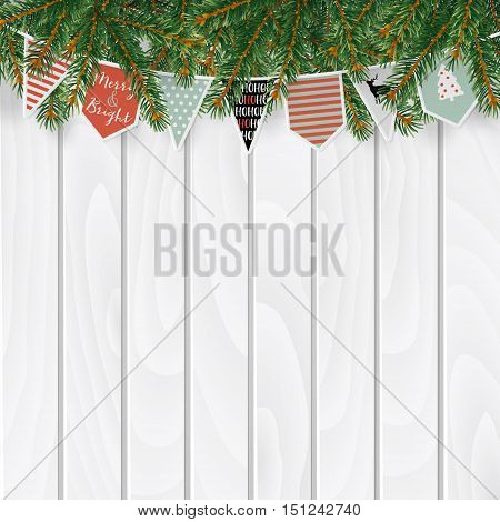 Christmas greeting card invitation web banner with traditional decorations. Fir spruce evergreen branches string of paper flags bunting old white wooden background. Vector illustration.